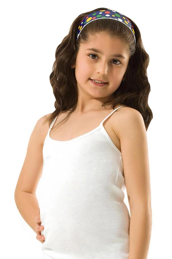 Kompedan Kız Çocuk Ribana Taşlı İp Askılı Atlet Beyaz K0817